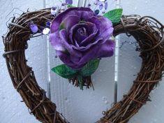 Heart Wreath Wedding Wreath Wedding Decorations Anniversay Wreath Rustic Wedding Decor Valentine Wreath Purple Rose Wreath by donnahubbard on Etsy Valentines Flowers, Valentine Wreath, Valentine Decorations, Valentine Gifts, Wedding Decorations, Valentine Heart, Twig Wreath, Heart Wreath, Small Wreath