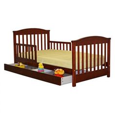 Dream On Me Mission Style Toddler Bed with Storage Drawer in Cherry - 651-C
