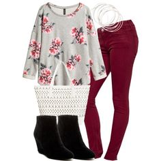 """""""Lydia Inspired Outfit with Burgundy Jeans"""" by veterization on Polyvore"""