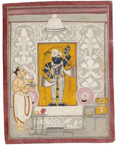 """Shrinathji Accepts a Mughal Shringar"" (first quarter of the 19th century), Nathdwara, Rajasthan, India, Amit Ambalal Collection"