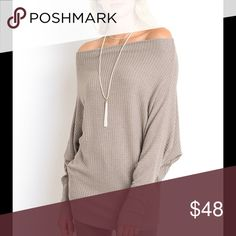 Batwing Sleeve Top Everything to love about this off shoulder batwing sleeve top for spring in the color mocha. Tops Blouses