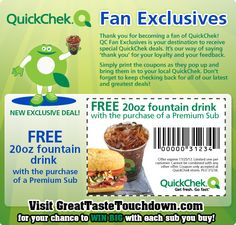 FACEBOOK COUPON $$ Reminder: FREE Fountain Drink With Purchase of Sub from QuickChek – Expires TODAY (11/25)!