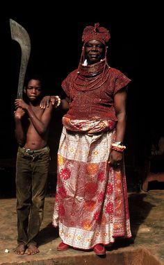 Chief Aiyevbekpen Ero, the Ero of Benin, one of the seven Uzama, wearing coral regalia, Ero's palace, Urubi, Benin City, Nigeria, October 1981. Photo by Barbara W. Blackmun.