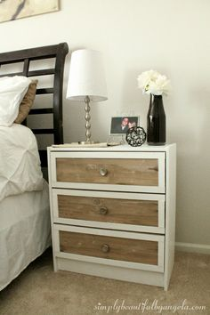 IKEA Rast Nightstand Hack. good directions on how to paint and stain wood. Like the white frame, single knob, and bordered edge...My adapation - use two knobs , darker stain on front, and different knobs