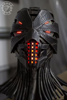 Erebus - Cyberpunk dystopian light up helmet by TwoHornsUnited on DeviantArt