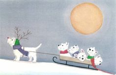 West highland terrier (westie) family takes holiday sled ride / Lynch signed folk art print by watercolorqueen on Etsy