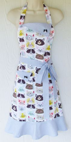 Cute Cat Apron READY TO SHIP Playful Kitties Retro by KitschNStyle