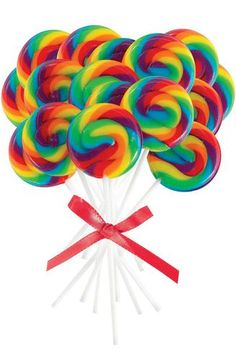 "Kids will love these Mini Rainbow Spiral Lollipops. Let them enjoy a Lollipop during the party or include them in their party favor kits. Each package includes 16 lollipops. Each measures 2"""" in diame"