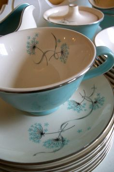 Turquoise and queen anne's lace design china with silver gilt - so lovely!