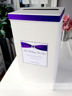 Cadburys Purple Wedding Stationery | The Aurora Collection - Wedding Post Box | Featuring silver glitter paper border, cadburys purple ribbon and horseshoe diamante embellishment | Luxury handmade wedding invitations and stationery #byenchanting