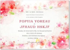 wedding invitations -  pink  #invites -  #floral
