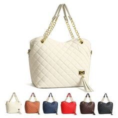 New Women Ladies Handbag Quilted Chain Shoulder Tote Leather Cross Body Bag #is #QuiltedChainBag