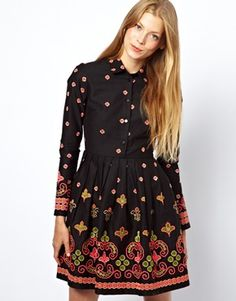 Skater Dress With Floral Geo Embroidery