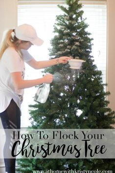 A flocked Christmas tree can be so gorgeous and now it's SO easy to achieve this snow filled desired tree all on your own with this DIY tutorial.