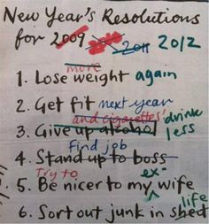 New years resolutions… |