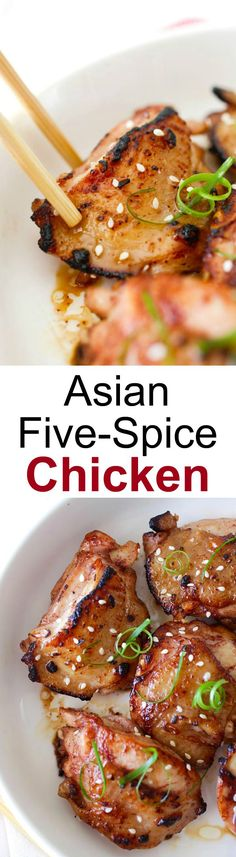 Asian Five-Spice Chicken – deeply flavorful and moist pan-fried skillet chicken marinated with Asian spices & sauces. So yummy! | rasamalaysia.com