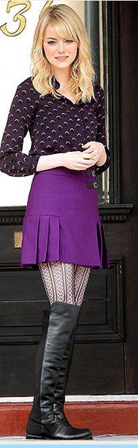 Emma Stone: Shoes – Stuart Weitzman    Shirt – Cynthia Rowley