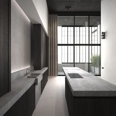 Kitchen envy ✔️We mostly favour all white.but sometimes we're lured to the dark side! This moody sexy kitchen designed by adoffice.be - Kitchen Today Home Decor Kitchen, Kitchen Interior, Kitchen Design, Interior Exterior, Interior Architecture, Stone Interior, Minimal Kitchen, House Design, Concrete