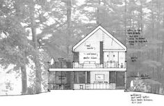 integrating site and elevation -- Olson Kundig Architects - Projects - Wolfeboro Residence Section Drawing, Cabin Design, Architecture Drawings, Modern Buildings, Floor Plans, Technical Drawings, Architectural Sketches, Ark, Illustration