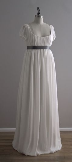 Jane - Wedding Dress - Eco Friendly Long Regency Gown with Cap Sleeves and Empire Waist