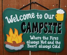Wood Outdoor Camping Sign - Fires always hot, beers always cold via Etsy