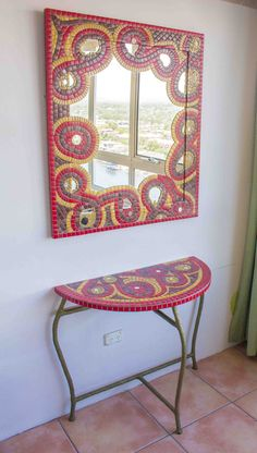 Red Yellow Brown Table & Mirror Art Mosaic  Colors by MauriMosaic
