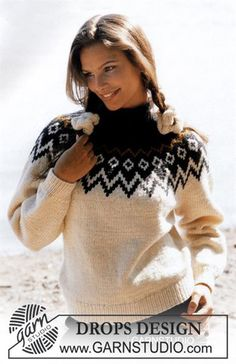 DROPS sweater with round yoke in Alaska Free tutorials from DROPS Design. - DROPS sweater with round yoke in Alaska Free tutorials from DROPS Design. Fair Isle Knitting Patterns, Fair Isle Pattern, Sweater Knitting Patterns, Knit Patterns, Free Knitting, Crochet Pullover Pattern, Knit Crochet, Drops Design, Jaquard Tricot