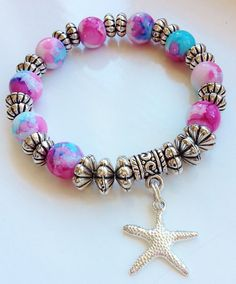 Starfish Charm Blue and Pink Stacking Bracelet by Elizasophiedesigns Colorful Bracelets, Holiday Fashion, Starfish, Jewellery, Boho, Beads, Silver, Pink, Stuff To Buy