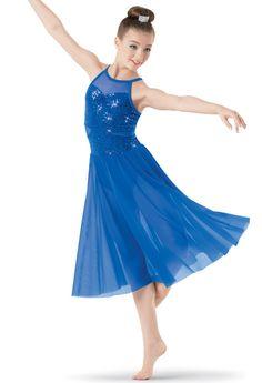 LYRICAL DRESS BLUE GLITTERED TIE DYE WRAP HALTER XLA intCh sizes DANCE