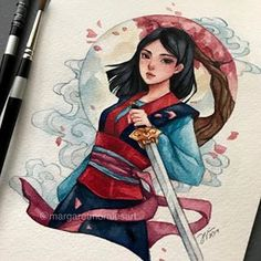 Continuing my mini princess series~Mulan! 🗡❤️ I rewatched the movie recently and I still love it 😍 . Disney Princess Art, Disney Fan Art, Cute Disney Drawings, Cute Drawings, Character Art, Character Design, Pinturas Disney, Dibujos Cute, Arte Disney