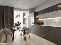 The geometry of minimalism in spacious apartment. Minimalist Apartment, Minimalist Home, Serene Bathroom, Cosy Apartment, Open Plan Kitchen Living Room, Elegant Kitchens, Kitchen Interior, Living Room Decor, House Design