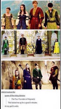 Yessss...  I can see this  Edmund as Salazar, Lucy as Helga, Peter as Godric and Susan as Rowena