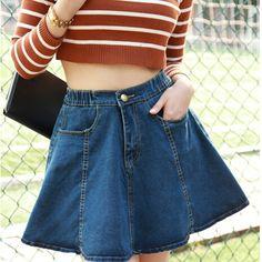 Barato Hot 2015 New Denim Mini saia Jeans saias bonito Sexy A linha Mini saia plissada saias cor sólida azul Falda De Mezclilla, Compro Qualidade Saias diretamente de fornecedores da China:                                                                   Venda quente