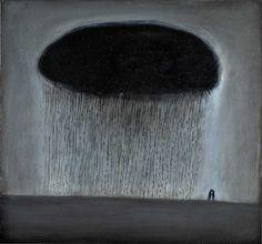 'Lovers with Rain Cloud by Richard Cartwright (oil) Landscape Art, Landscape Paintings, Rain Illustration, Paintings I Love, Dark Paintings, Rain Painting, Cloud Art, Winter Images, Rain Clouds