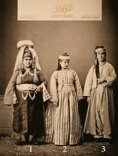 Clothing from province of Ankara, Ottoman State. 1-Woman from Yozgat, 2-Wife of a Christian artisan of Ankara, 3-Wife of a Muslim artisan of Ankara. Istanbul, 1873.