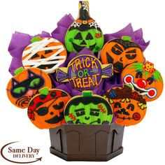 Halloween Cookies to Buy Online. Use as a Centerpiece or Gift Basket.