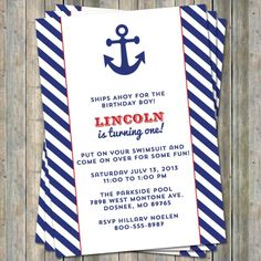 Anchor Nautical birthday invitation with by freshlysqueezedcards, $13.00