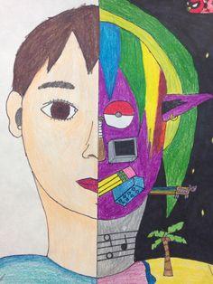 Animal Art Lessons Self Portraits 55 Ideas 7th Grade Art, Seventh Grade, Self Portrait Art, Middle School Art Projects, Art Drawings For Kids, Art Classroom, Art Club, Art Plastique, Art Activities