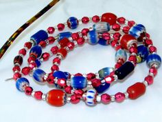 Red White & Blue Beaded Eyeglass or Office Id Badge Lanyard by nonie615, $25.00 Free 1st Class USPS shipping + 15% off sale. Coupon code: AfterChristmas15