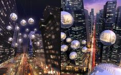 HKS Architects have designed a hotel concept called Live Between, a pop-up hotel that lets people sleep hundreds of feet above the ground in a suspended pod. Strung up between skyscrapers each spherical chamber is a self-contained guest room with power and its own low water fixtures and waterless toilets to maintain low impact on the environment.