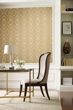 Classic Elegance for your home. Elegant Large Gold Tone on Tone  Damask Wallpaper #York