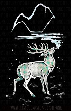 Breath of the Mountains Print // Stylized White Stag by CoyoteFunk