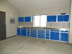 Blue aluminum garage storage cabinets