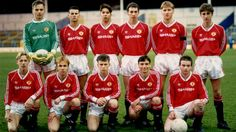 Man Utd's youth team including Ryan Giggs and Adrian Doherty in April 1990