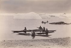 Fridtjof Nansen - Expedition members in kayaks. Fridtjof Nansen nearest the beach. Greenland, 1888-1889