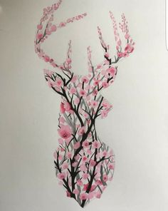 Diy Tattoo, Pencil Art Drawings, Art Sketches, Love Tattoos, Body Art Tattoos, Watercolor Illustration, Watercolor Paintings, Deer Skull Tattoos, Deer Art