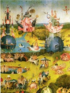 The Garden of Earthly Delights  (detail, 1510-15) by Dutch painter Hieronymus Bosch (c1450-1516). This image is part of the series of the same name. It is an oil on panel and is now located at the Museo del Prado in Madrid.