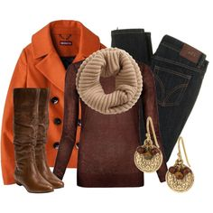 """""""Pumpkin Spice Pea Coat"""" by qtpiekelso on Polyvore"""