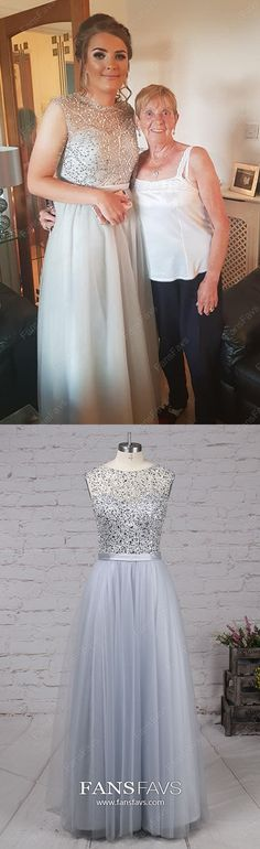 Long Prom Dresses Silver, A Line Prom Dresses Tulle, Sparkly Prom Dresses Beading, 2019 Modest Prom Dresses For Teens Grey Prom Dress, Sparkly Prom Dresses, Prom Girl Dresses, Simple Prom Dress, Prom Dresses For Teens, Perfect Prom Dress, A Line Prom Dresses, Tulle Prom Dress, Party Dresses