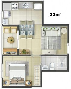 One bedroom house plans One Bedroom House Plans, Modern House Plans, Small House Plans, House Floor Plans, Studio Apartment Layout, Apartment Design, Architecture Blueprints, Amazing Architecture, Hotel Room Design